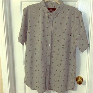 Gray with black skulls button up shirt